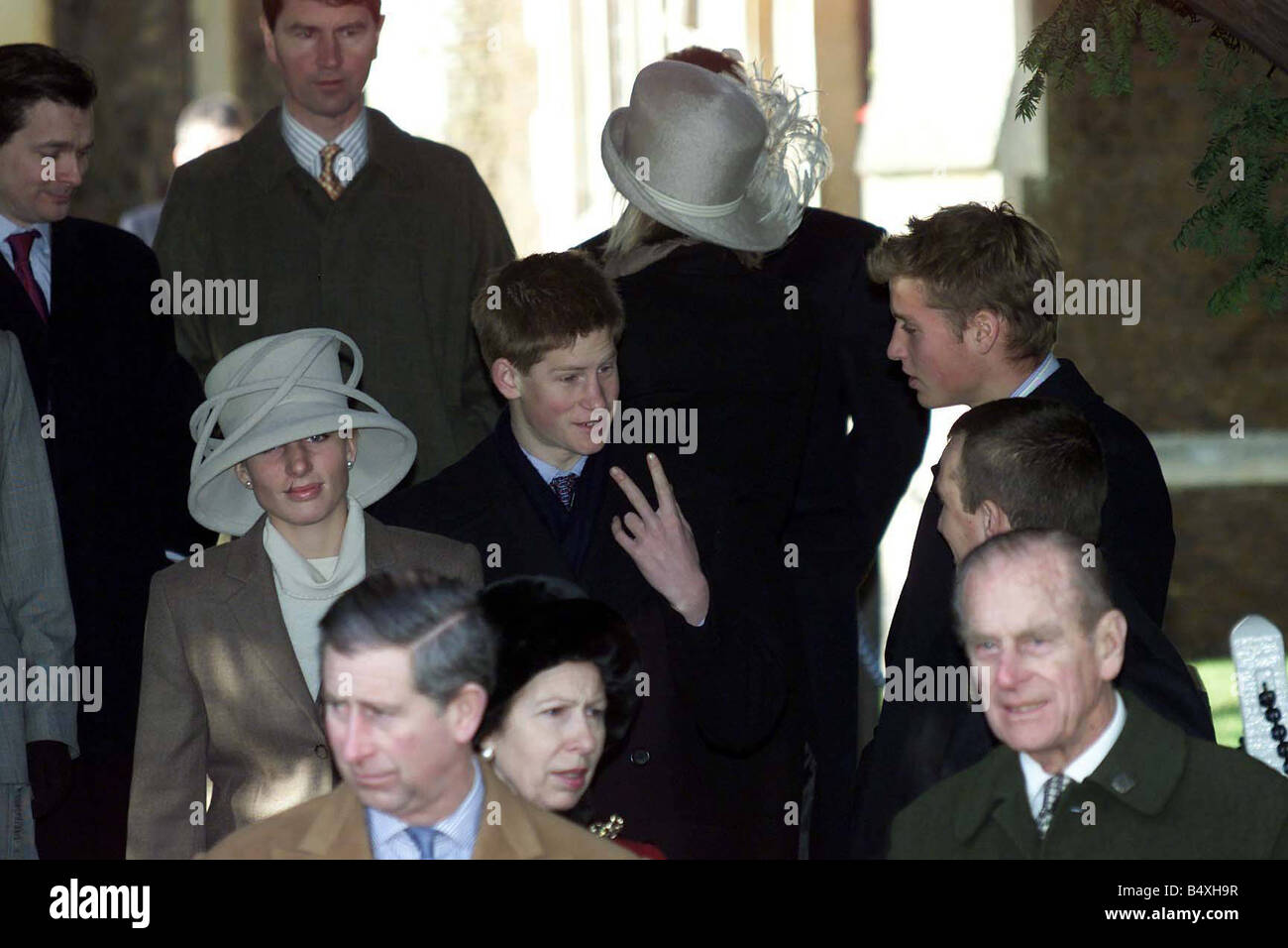 Royals at Sandringham Churchil Service December 2000 Prince Harry Zara and Prince William - Stock Image
