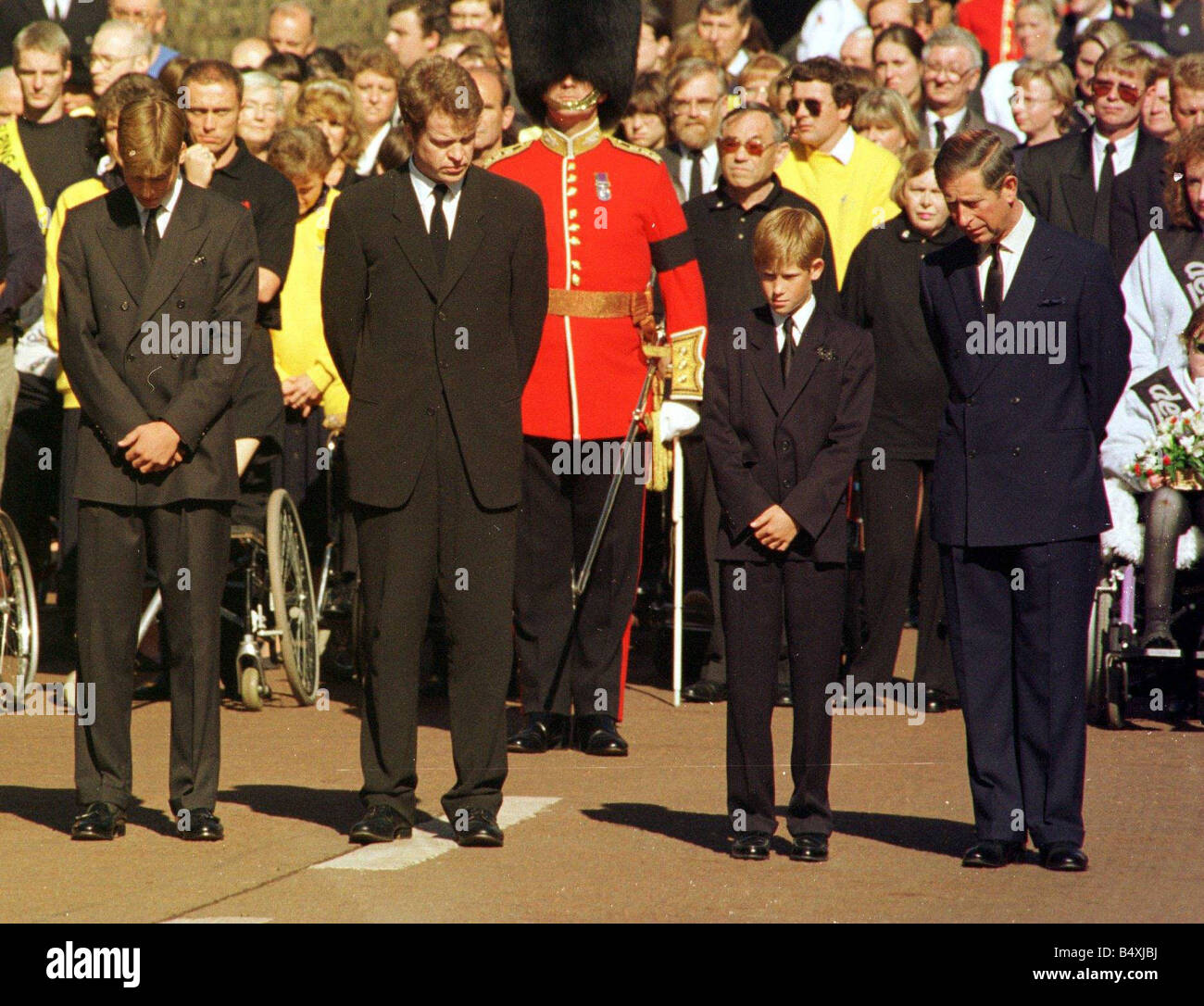 Princess Diana Funeral 6 September 1997 Royals with their heads bowed outside St James Palace Diana Princess of - Stock Image