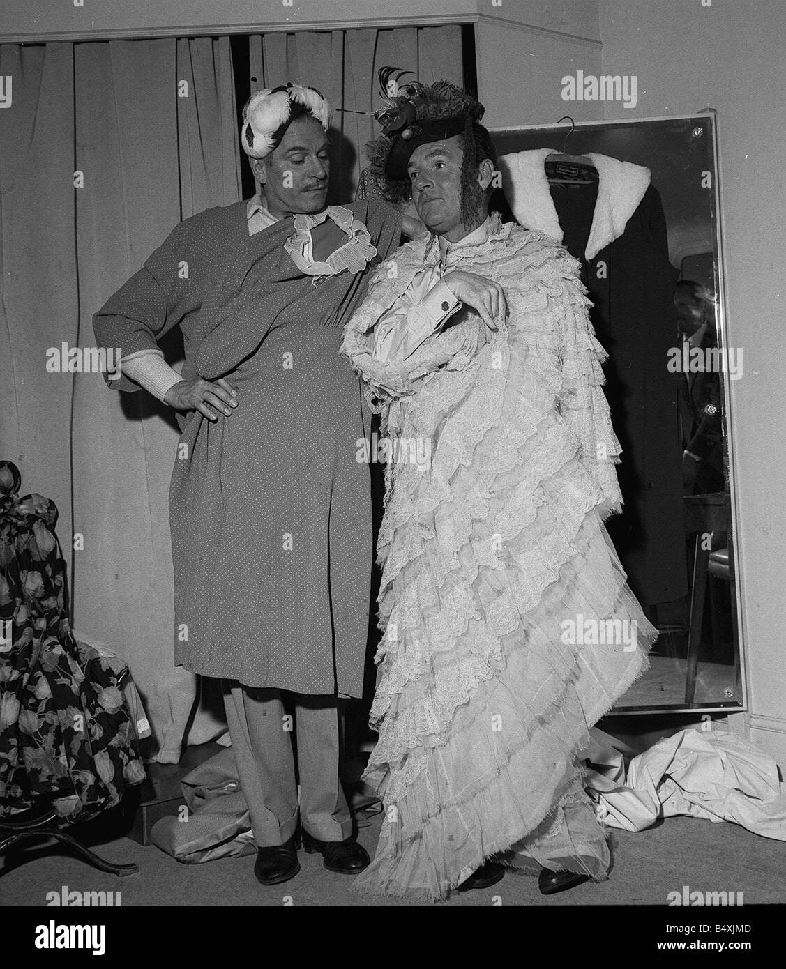 Sir Laurence Olivier And Kenneth More Dressing Up For Their