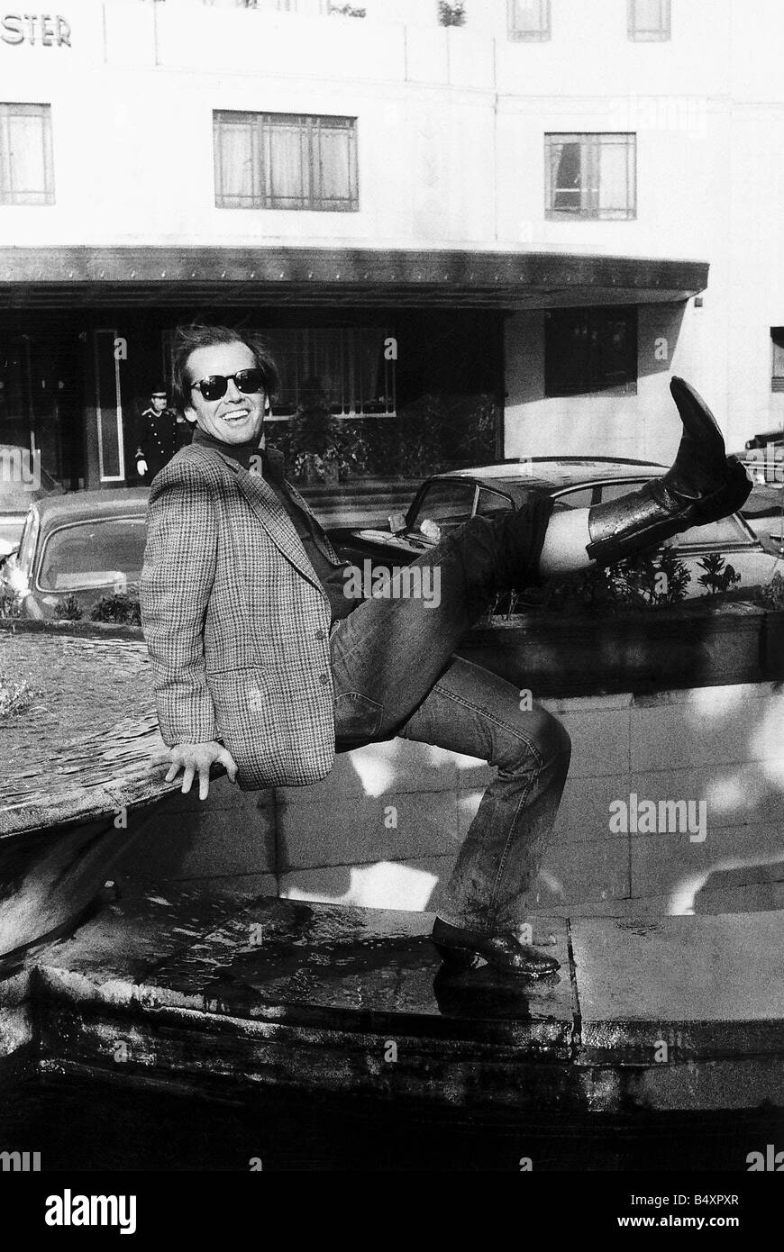 Jack Nicholson in London to promote his new film The one that flew over the cuckoos nest Stock Photo