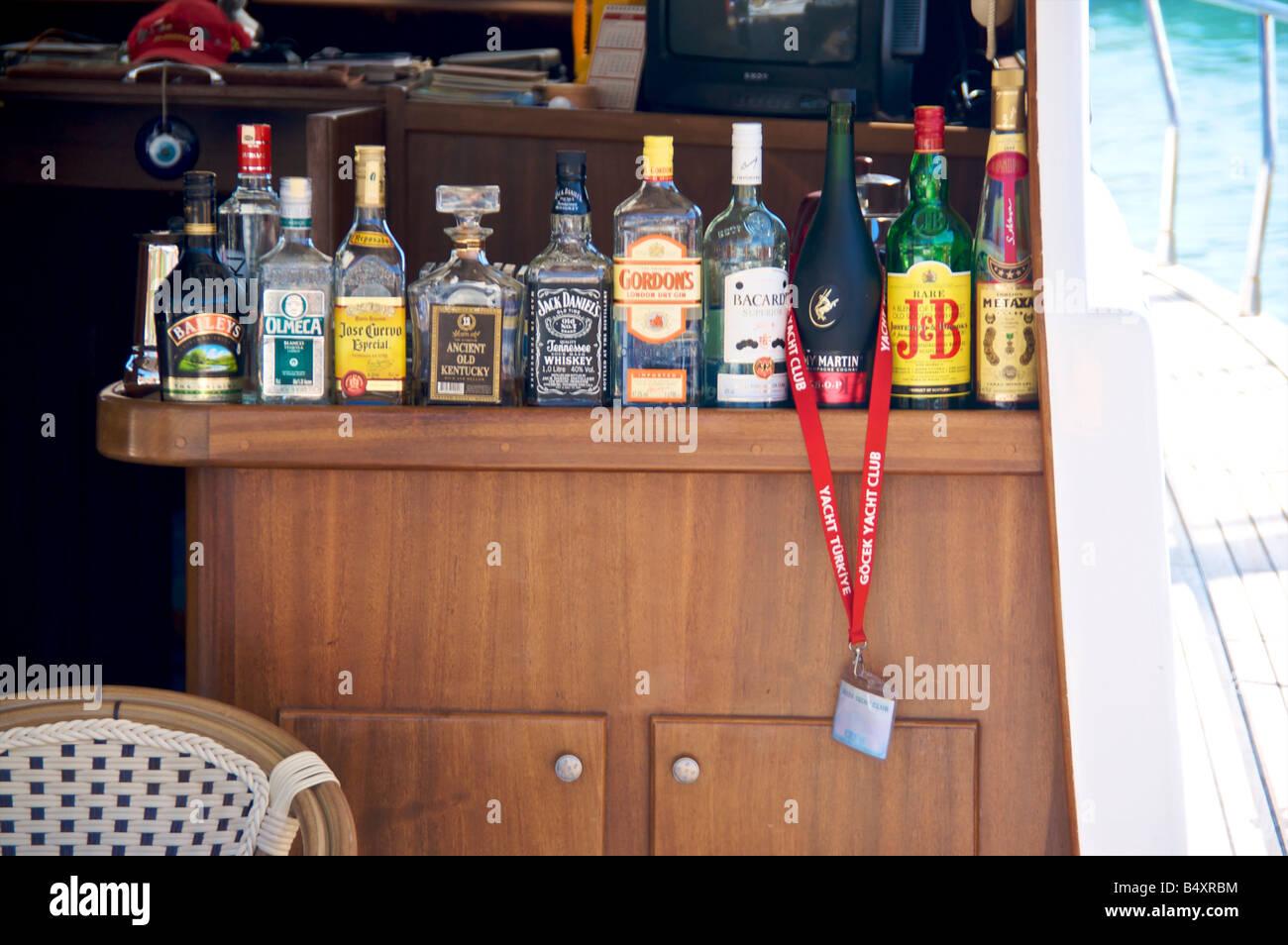 Bar on a Yacht in Goçek Turkey showing a Goçek yacht club badge - Stock Image