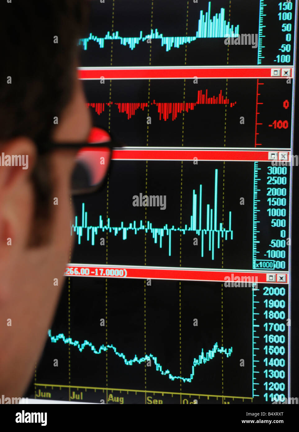 Futures and Options Derivatives Trader Looking at a Screen of Market Data - Stock Image