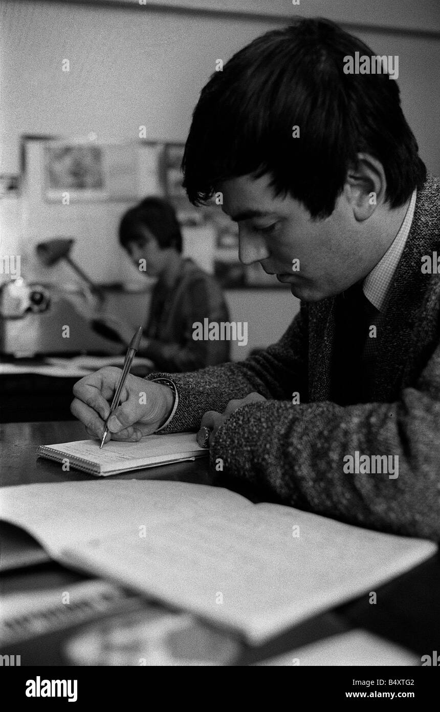 Tony Blackburn prepares for launch of BBC radio One 1967 writing notes for new show - Stock Image