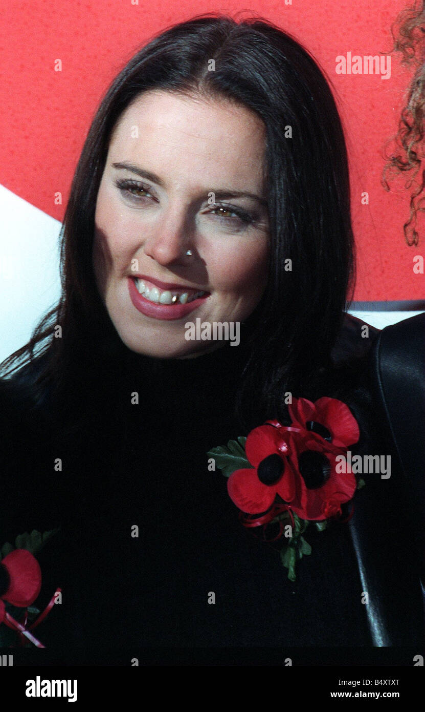 Mel C of Spice GIrls at launch Poppy Appeal October 1997 with Dame Vera Lynn and other members of her group in aid Stock Photo