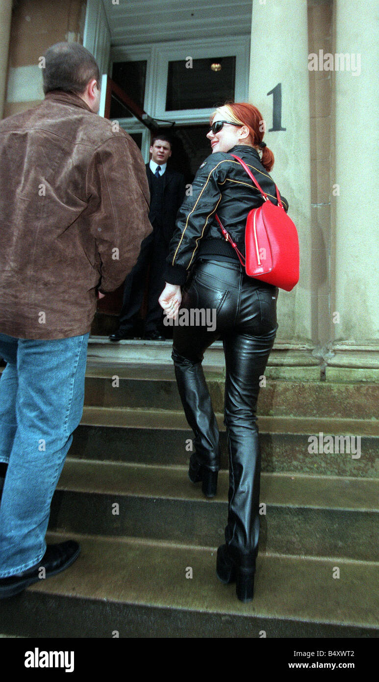 Spice Girls Geri Halliwell Wearing Black Leather Trousers