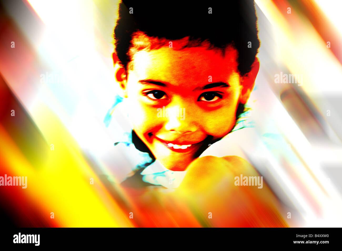 Boy smiling, portrait - Stock Image
