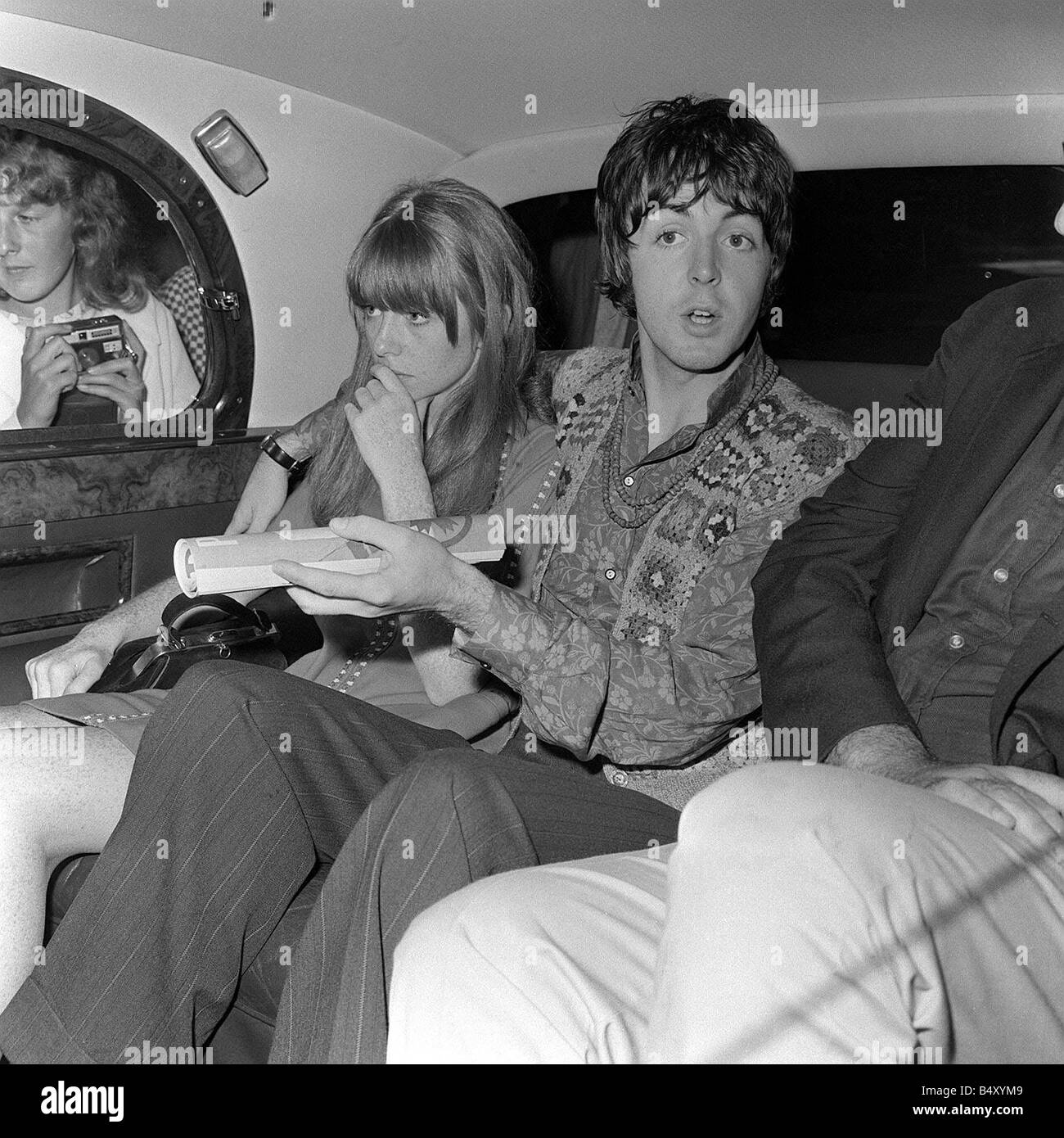 The Beatles Paul McCartney With Arm Around Girlfriend Aug 1968 In Back Of Car