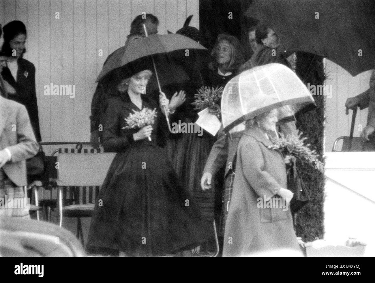 Princess Diana and The Queen Mum September 1987 Royalty at the Braemar for the Highland games with their brollies - Stock Image