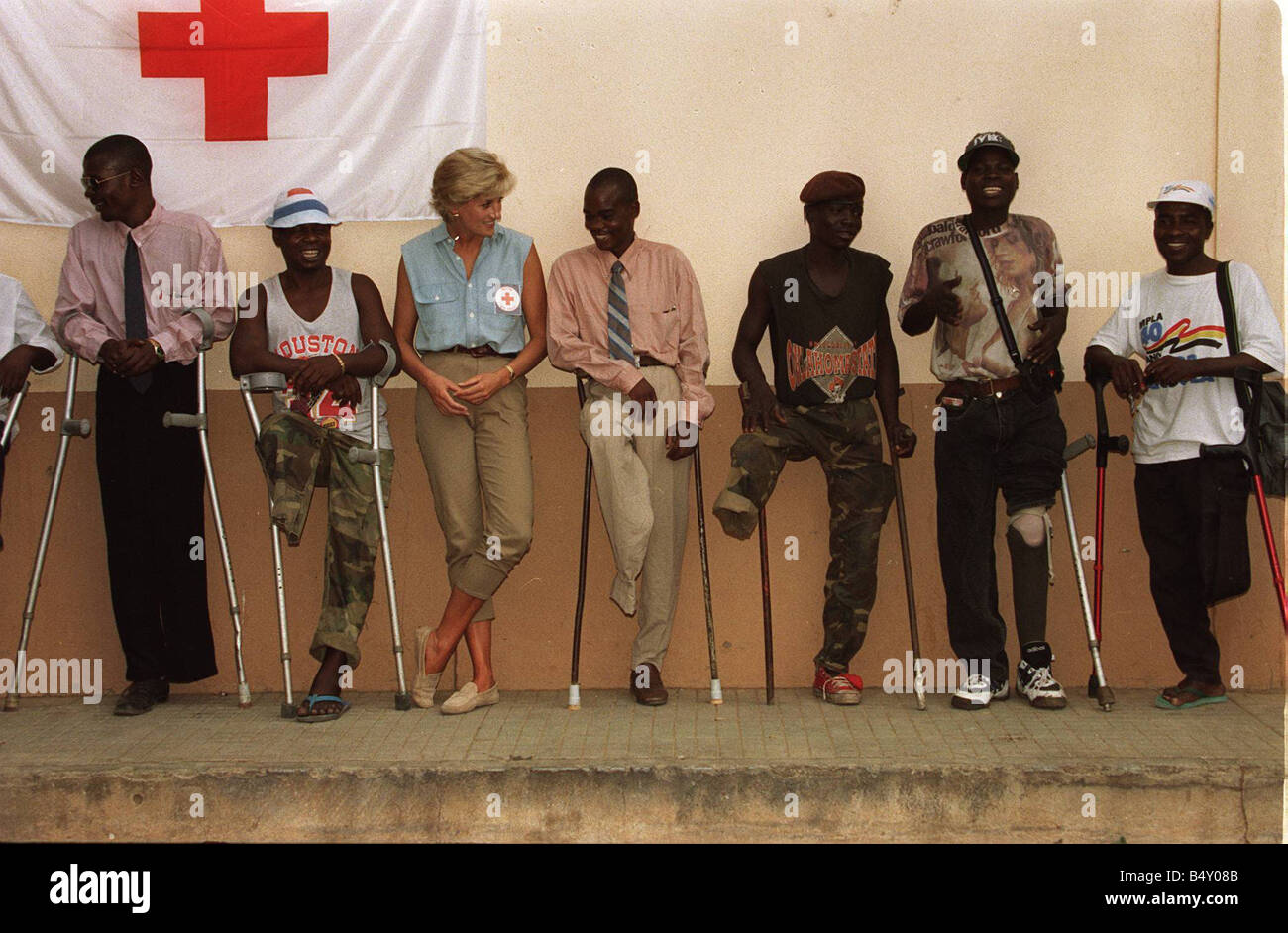 Princess Diana visiting landmine victims at the orthopaedic centre at Ruanda Angola War Conflict Angola Civil War - Stock Image