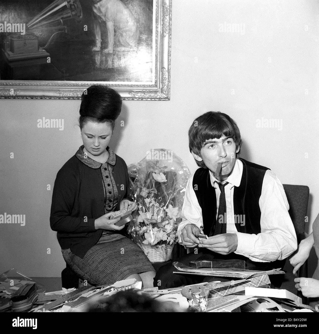 Pop Group The Beatles February 1964 George Harrison Anne Collingham Beatle 21st Birthday With Fan Club Secretary Helping Him