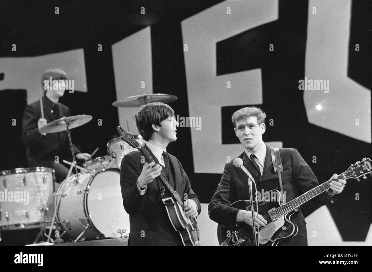 The Beatles in New York rehearse for their appearance on the Ed Sullivan TV Show George Harrison was bed ridden - Stock Image