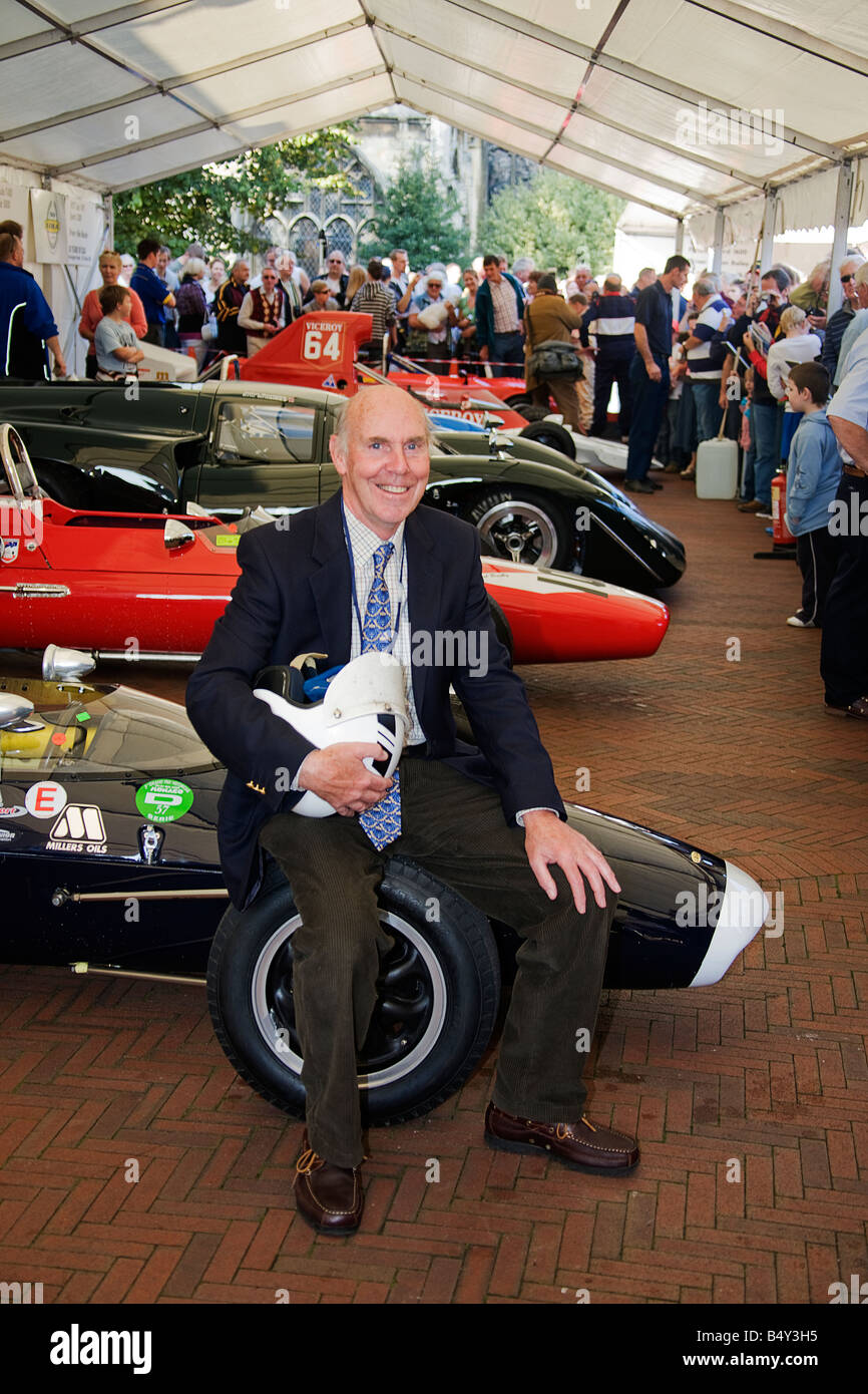 Richard Attwood racing driver.Lola cars 50 years in motorsport.Huntingdon. Celebrations in the market sguare Huntingdon. - Stock Image