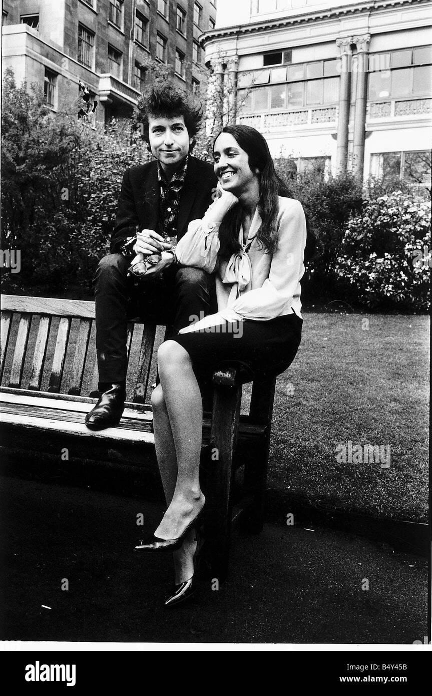 Singer and songwriter Bob Dylan with Joan Baez American folk