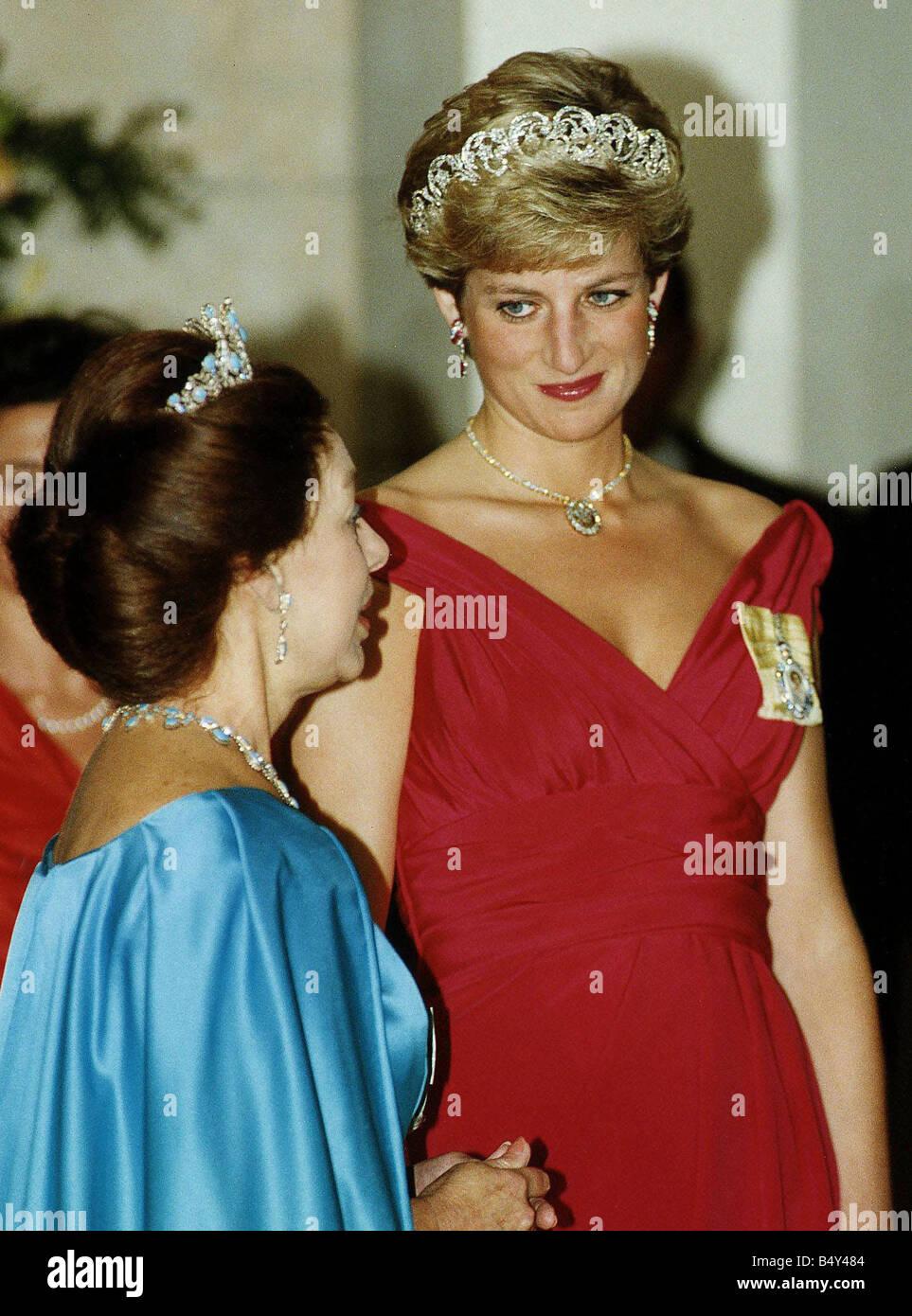 Princess Margaret With Princess Diana Having Dinner For President Of