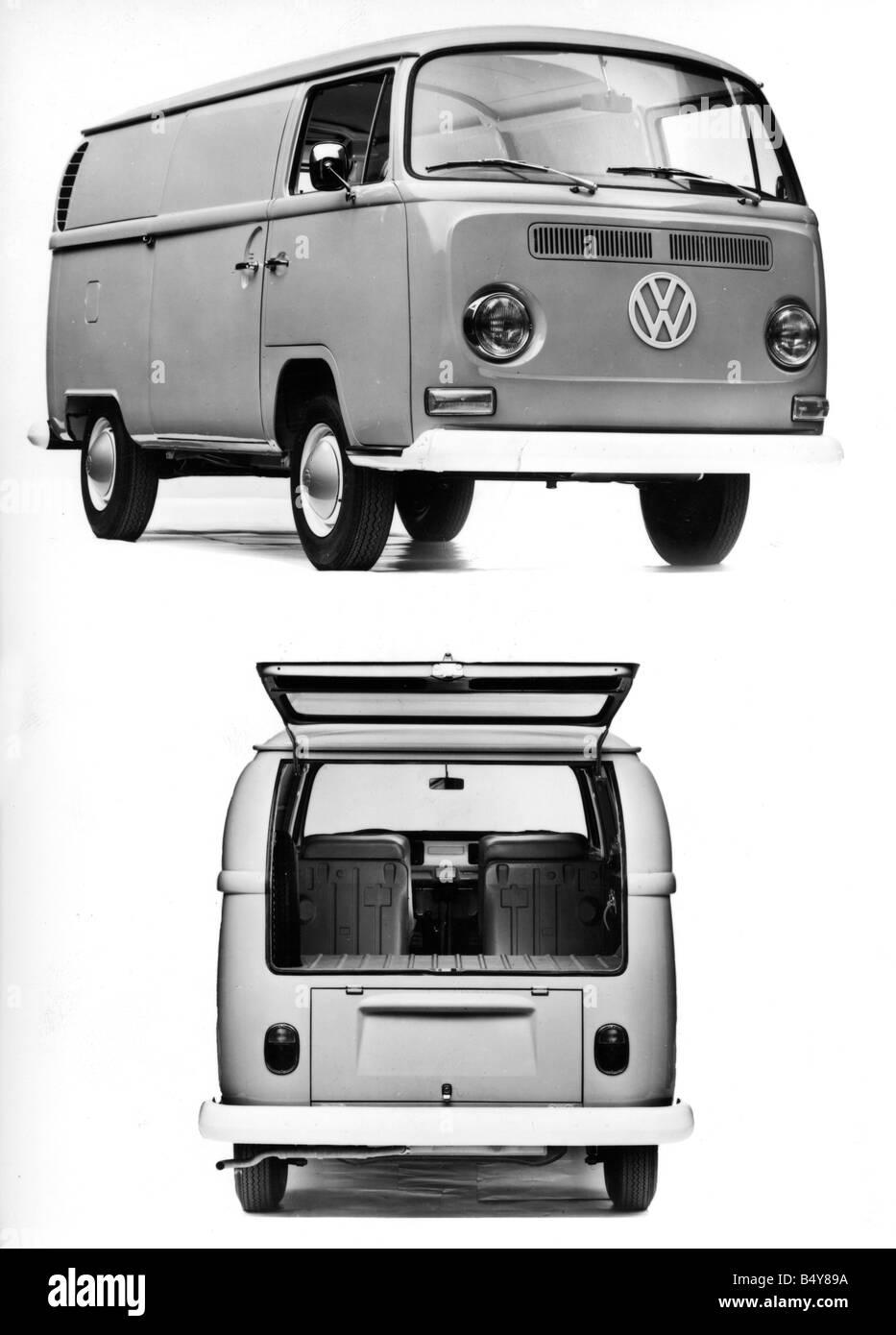 transport / transportation, car, vehicle variants, Volkswagen, VW Type 2, Transporter, frontal and back view of - Stock Image