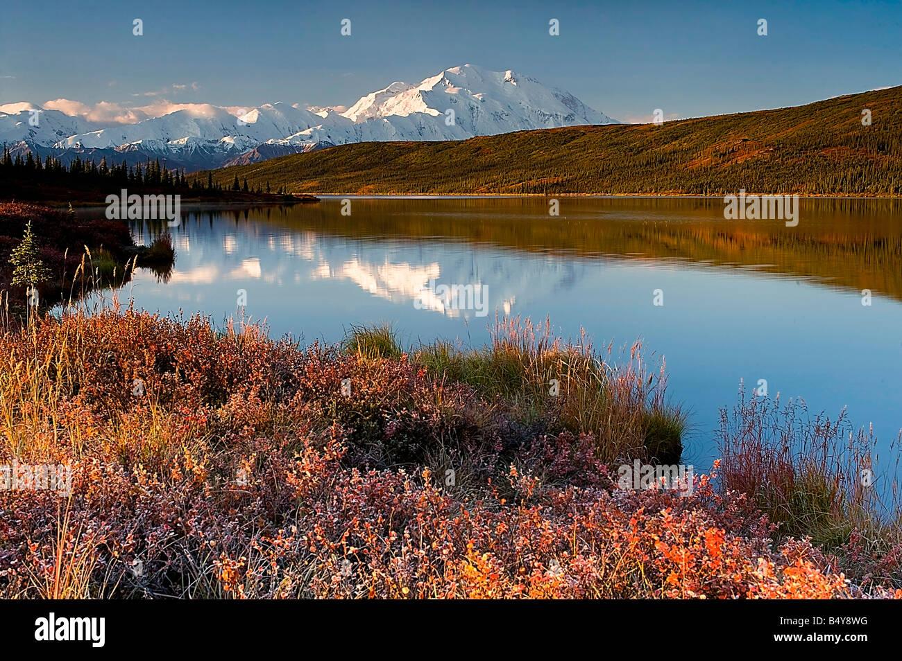 Mount Mckinley from Wonder Lake in Autumn, Denali National Park, Alaska - Stock Image