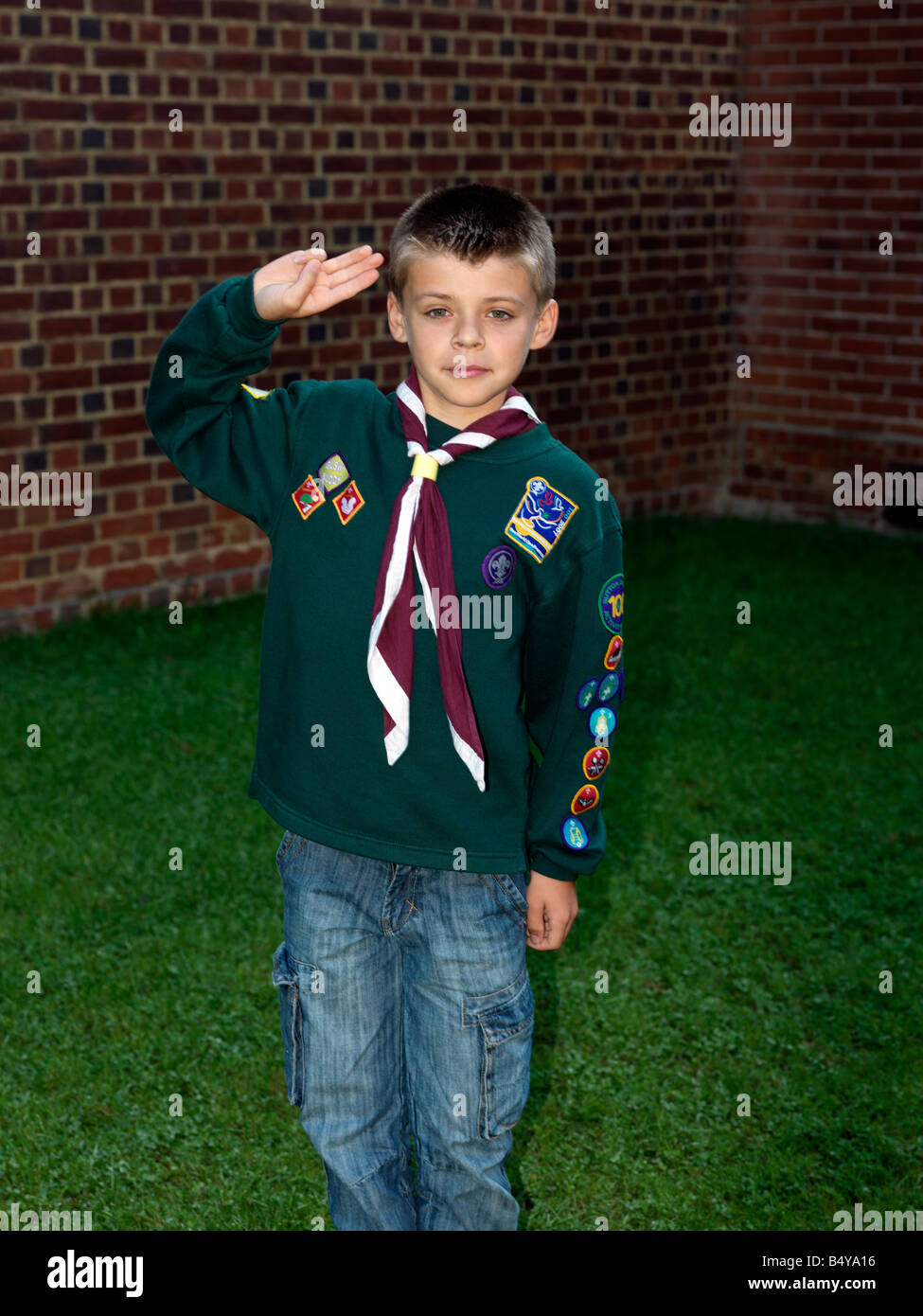 Cub Scout In Uniform with Badges - Stock Image
