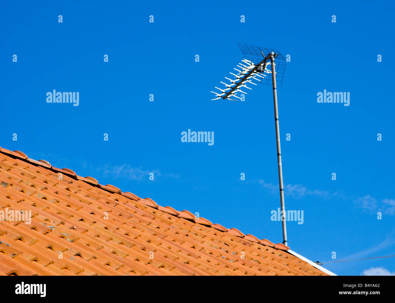 Antenna on summer house - Stock Image