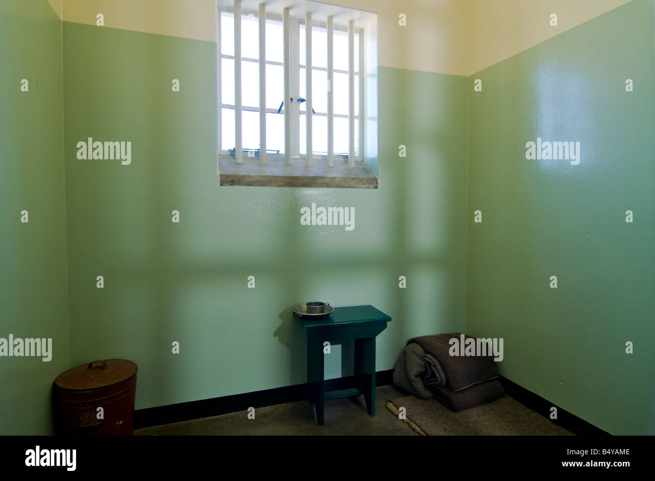 Prison cell of Nelson Mandela, prison, Robben Island, Western Cape, South Africa - Stock Image