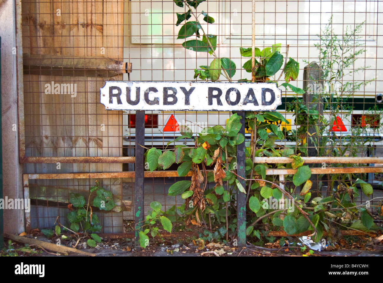 street sign for rugby road, close to the rugby stadium in twickenham southwest london, england Stock Photo
