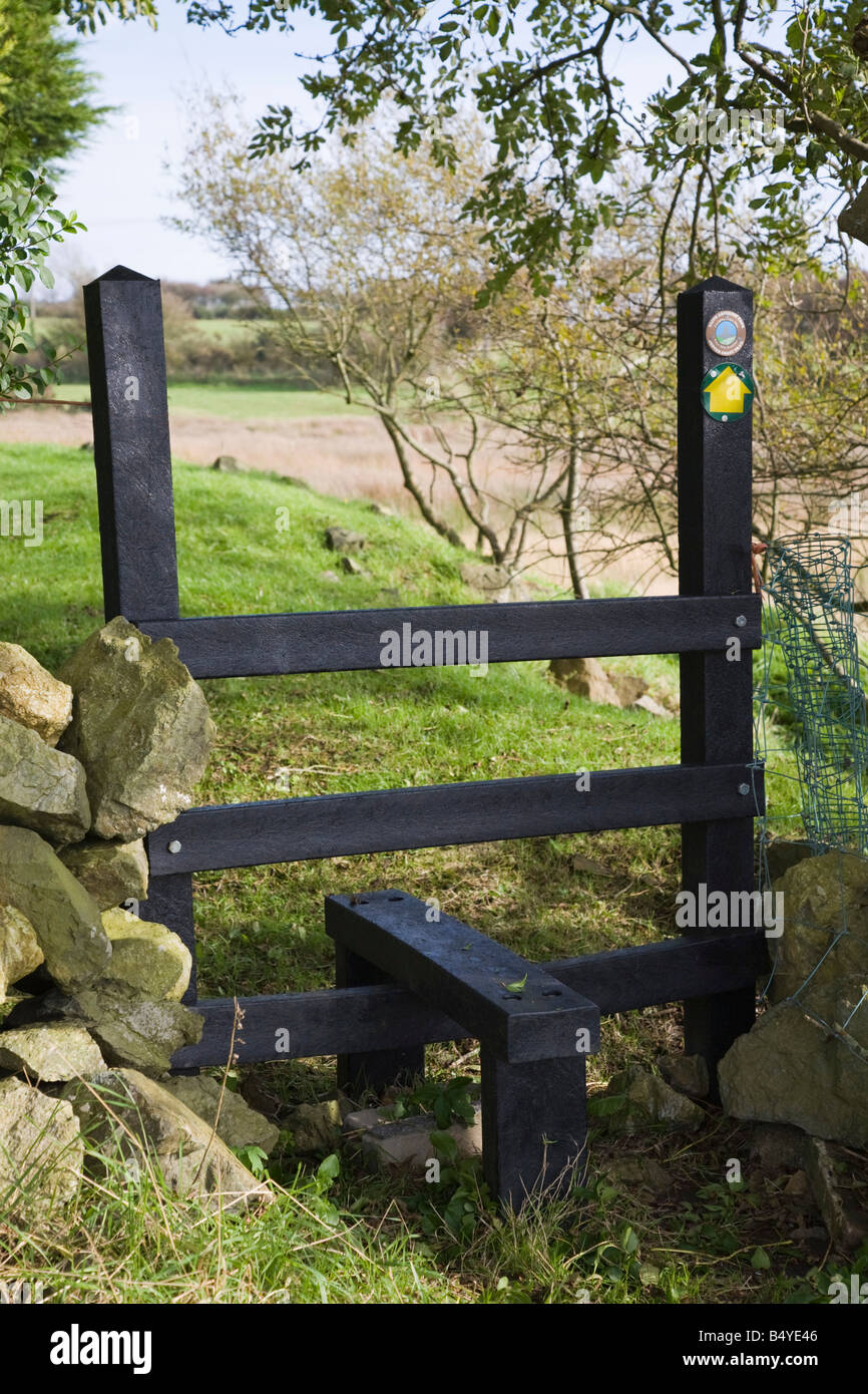 Stile manufactured from recycled plastic. UK. - Stock Image