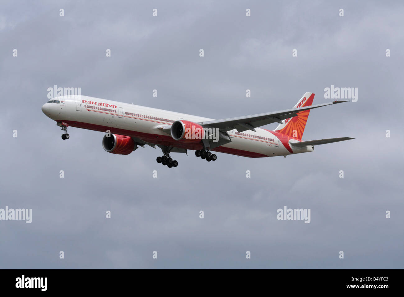 Air India Boeing 777-300ER long haul passenger jet plane on arrival at Heathrow - Stock Image