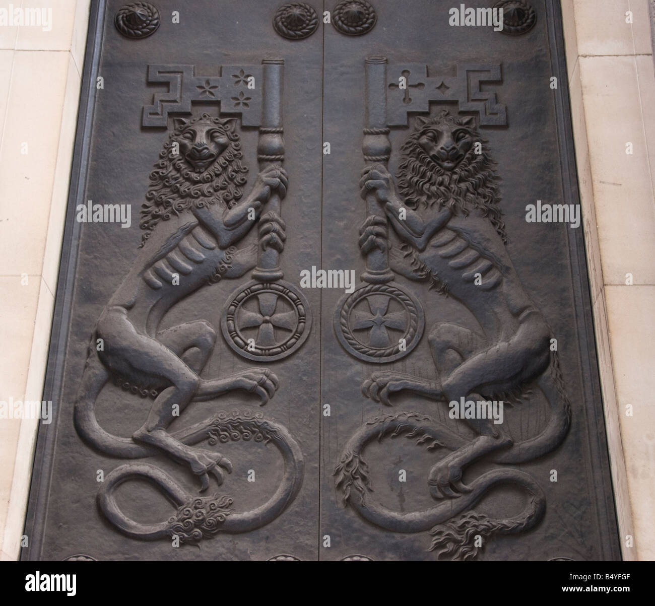Doors to The Bank of England - Stock Image
