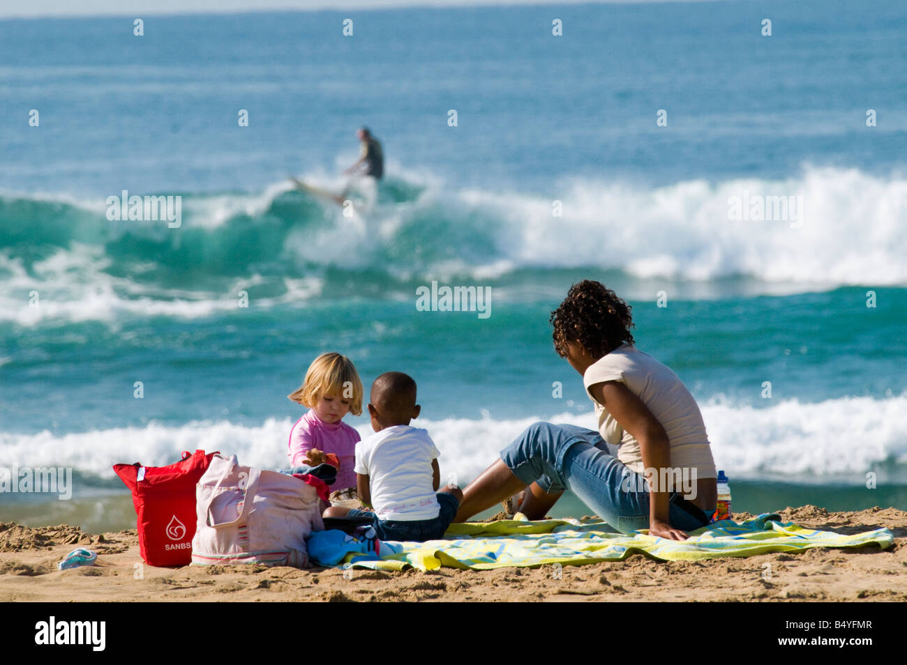 Kids, beach, Durban, Kwazulu-Natal, South Africa - Stock Image