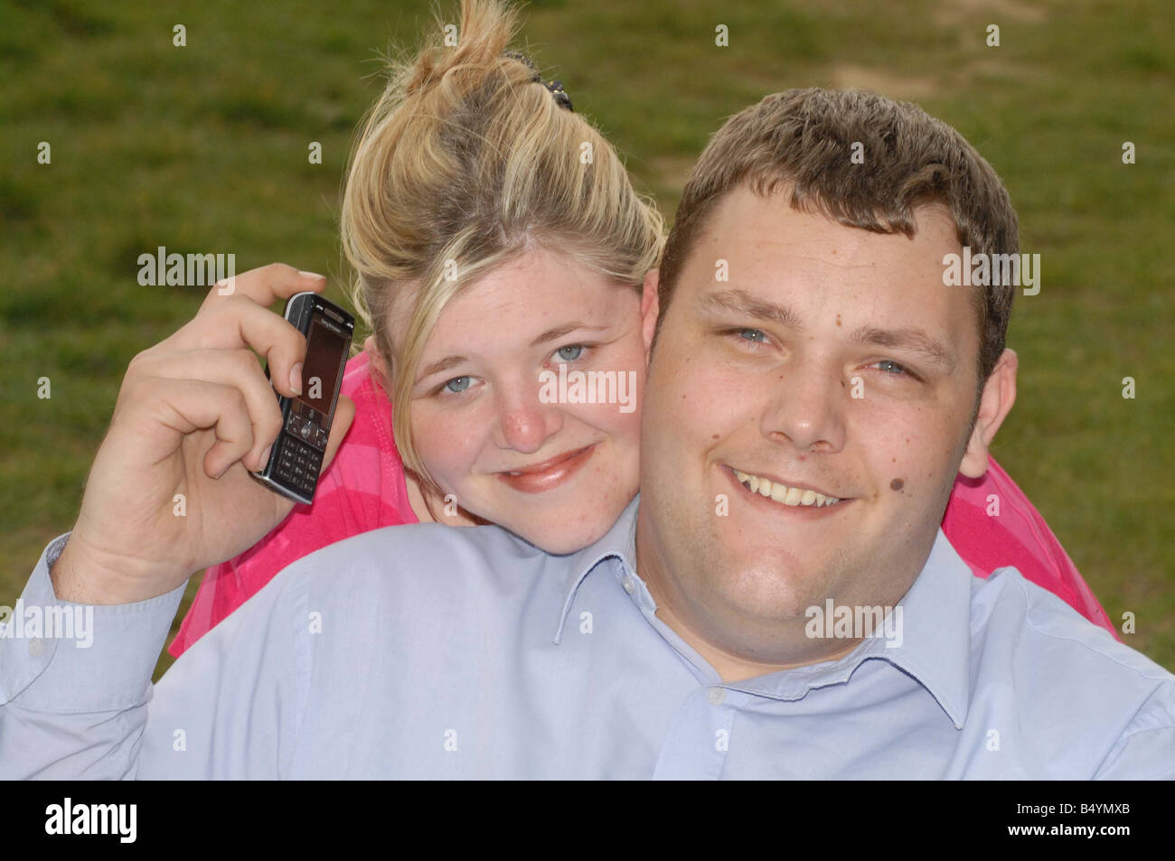 Dave Brown and wife Michelle Kitson They met after Dave saw a mystery mobile phone number in his sleep woke up and Stock Photo