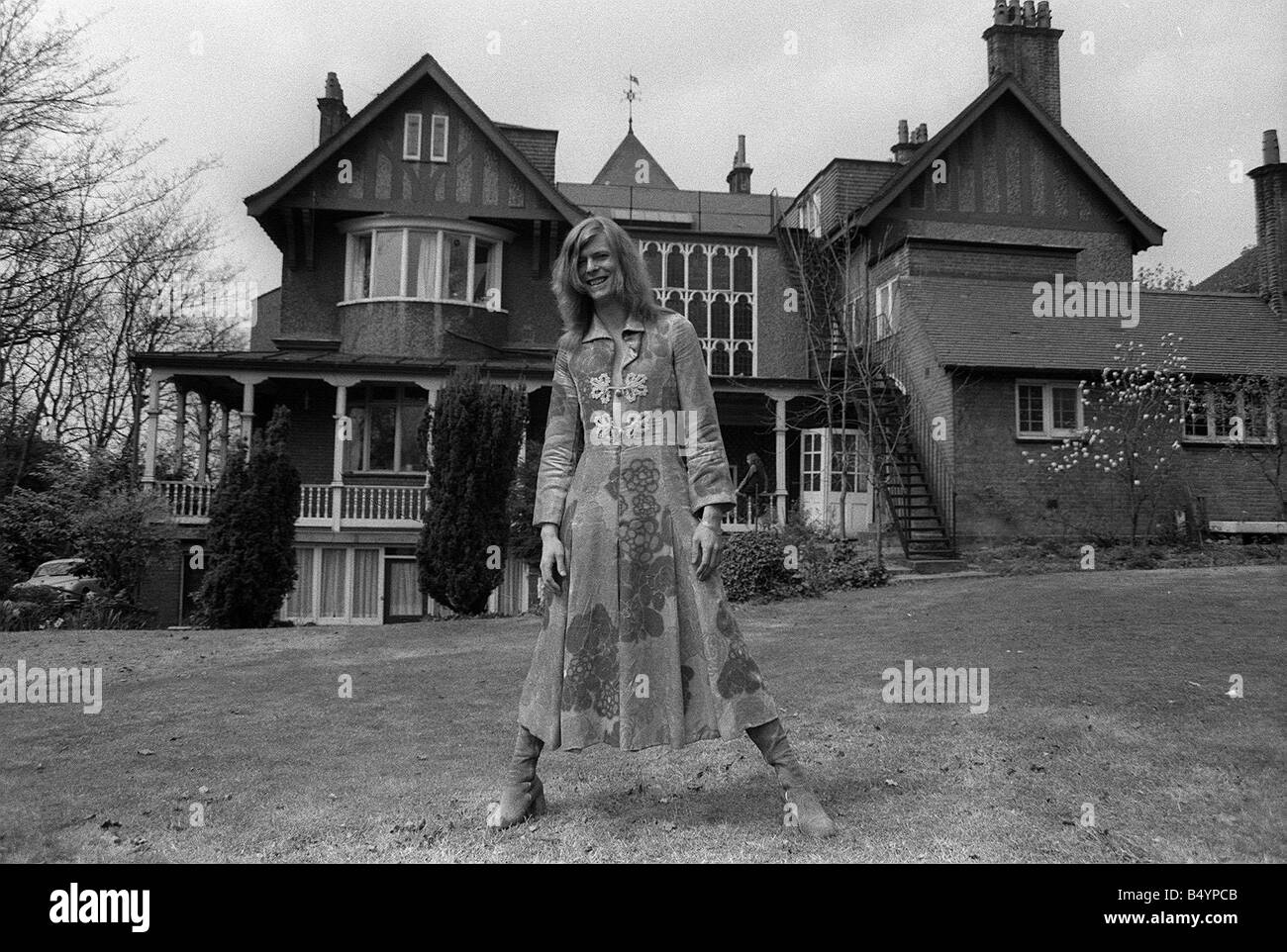 David Bowie Singer Outside Haddon Hall L A Victorian Gothic Mansion On Southend Road Beckenham Kent April 1971