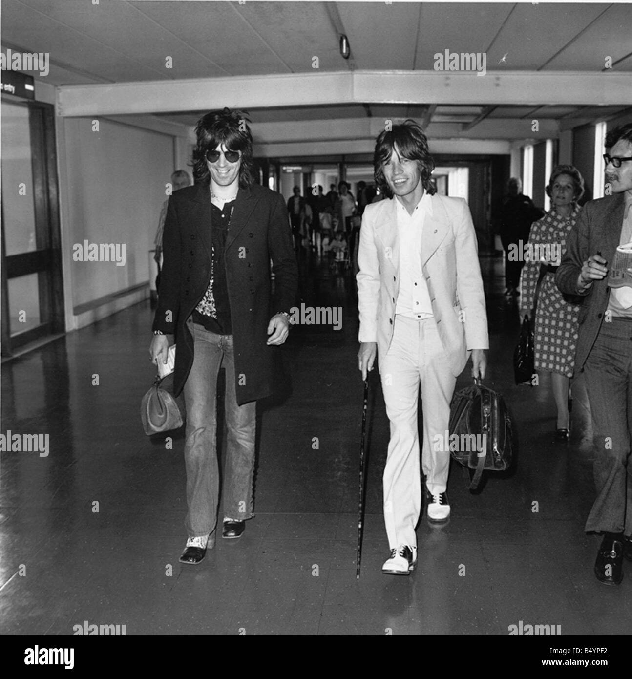 Keith Richards and Mick Jagger in relaxed mood as a major two month long American tour looms ahead gqmagazineusa - Stock Image