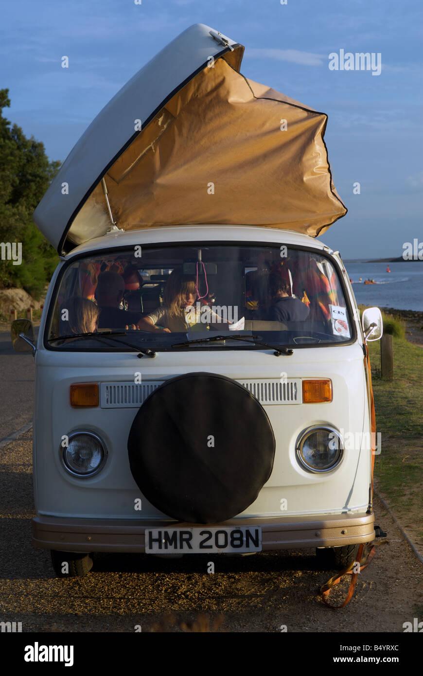 VW camper van, Bawdsey Ferry, Suffolk, UK. - Stock Image