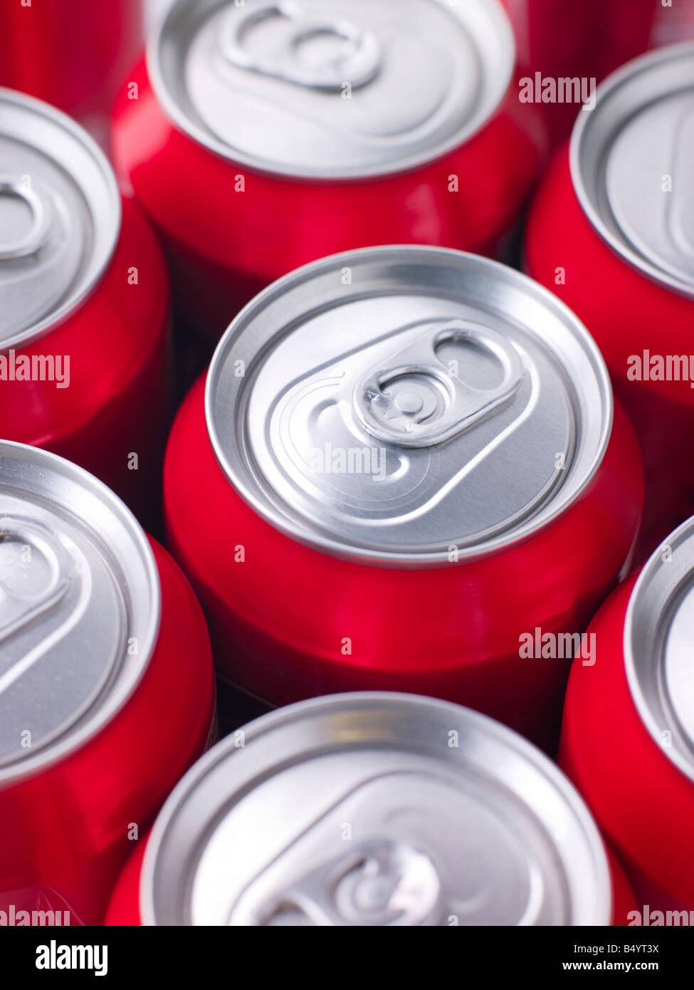 Red Cola Cans - Stock Image