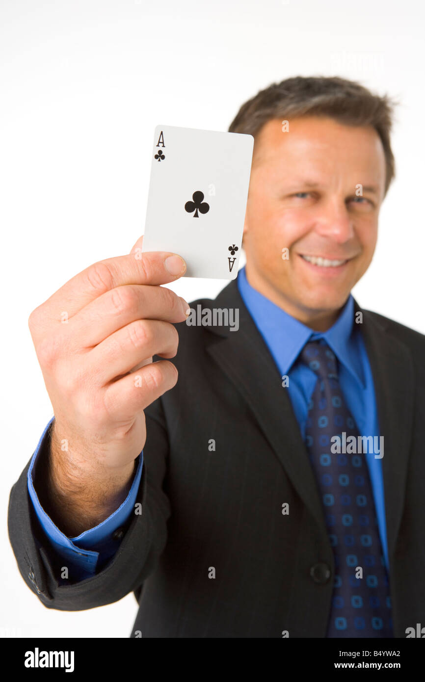 Businessman Holding The Ace Of Clubs - Stock Image