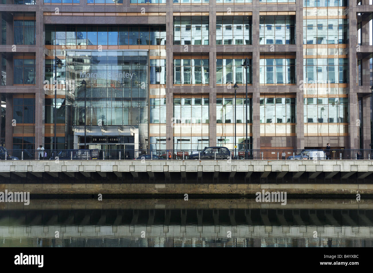 Morgan Stanley Building on Bank Street Canary Wharf London during the Credit Crisis - Stock Image