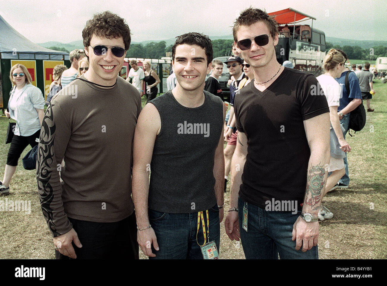 Stereophonics pictured at T in the Park smiling June 1999 - Stock Image