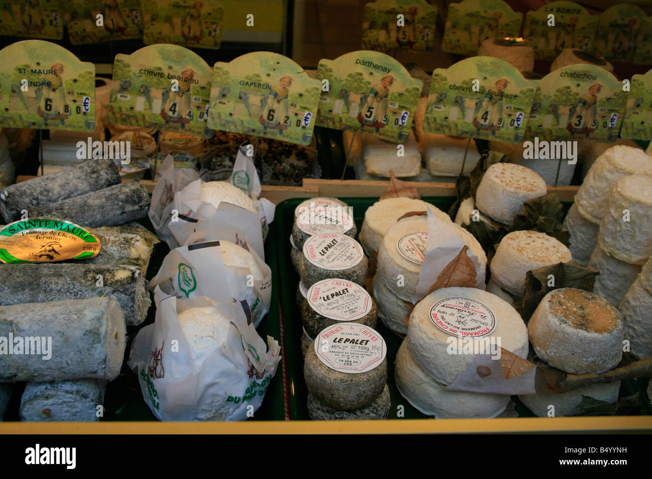 Various cheeses on display in a cheese shop in Senlis - Stock Image