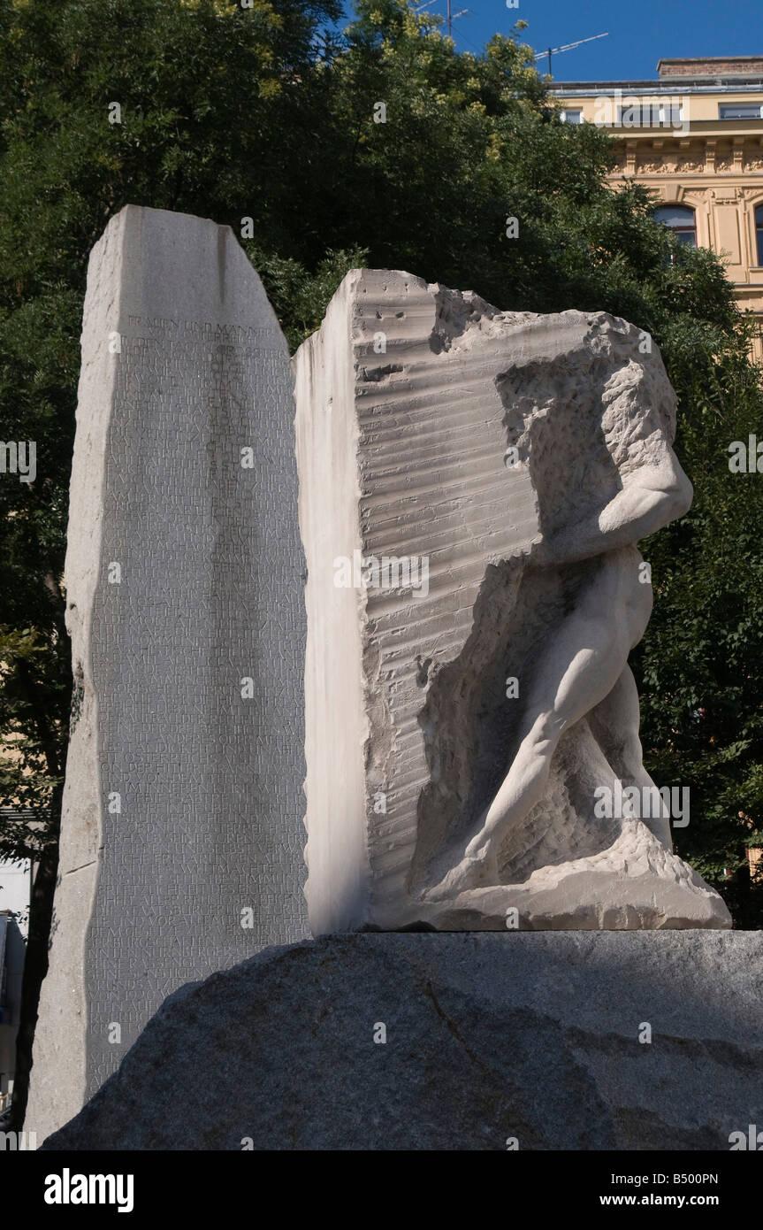 Wien Denkmal gegen Krieg und Faschismus von Alfred Hrdlicka Vienna Monument against War and Fascism by Alfred Hrdlicka Stock Photo