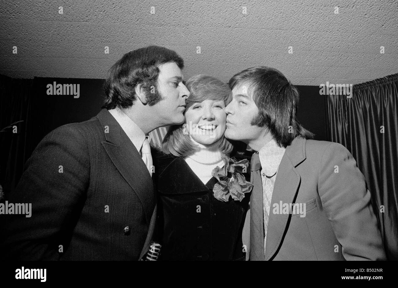 BBC radio braodcasters Terry Wogan left and Tony Blackburn winners of the Reveille Top of the Poll of DJs of Radio - Stock Image