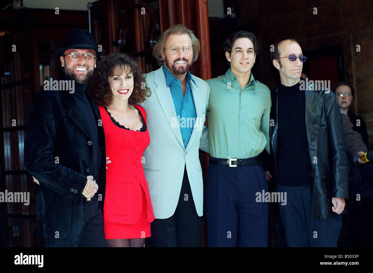 Bee Gees POP Group October 97 At the launch of the stage version of the hit film Saturday Night Fever Posing outside Stock Photo