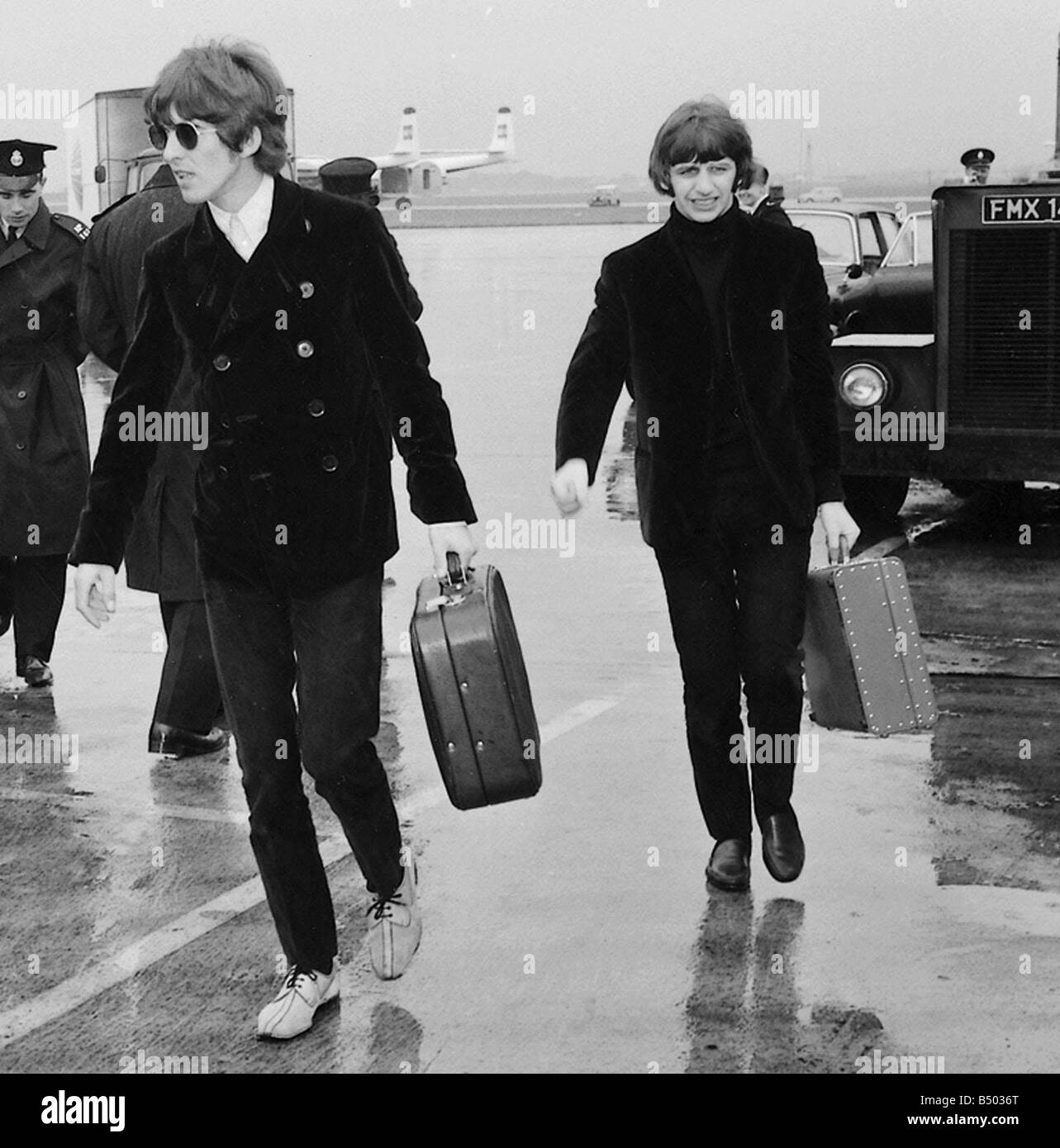 Beatles Files 1966 George Harrison And Ringo Starr Of The At London Airport Leave For USA