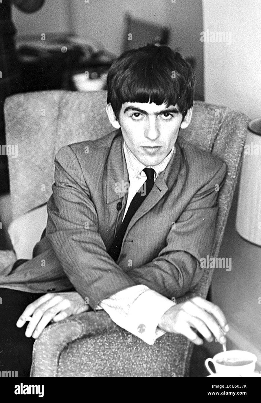 Beatles files George Harrison at home of Mirror reporter Donald Zec 09 09 63 - Stock Image
