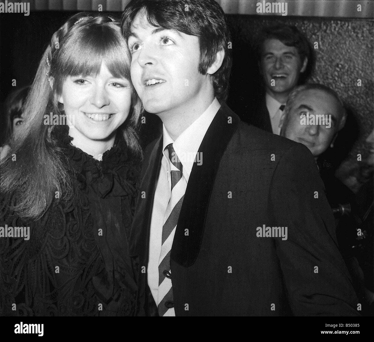 Beatles Files 1968 Paul McCartney With Jane Asher At London Pavillion For The Premiere Of Here We Go Round Mulberry Bush 04 01 68