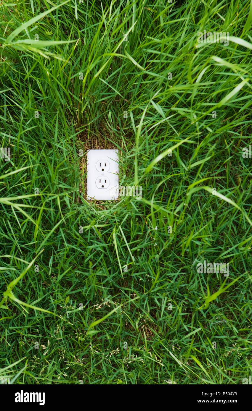 A electrical outlet in the ground surrounded by green grass Stock ...