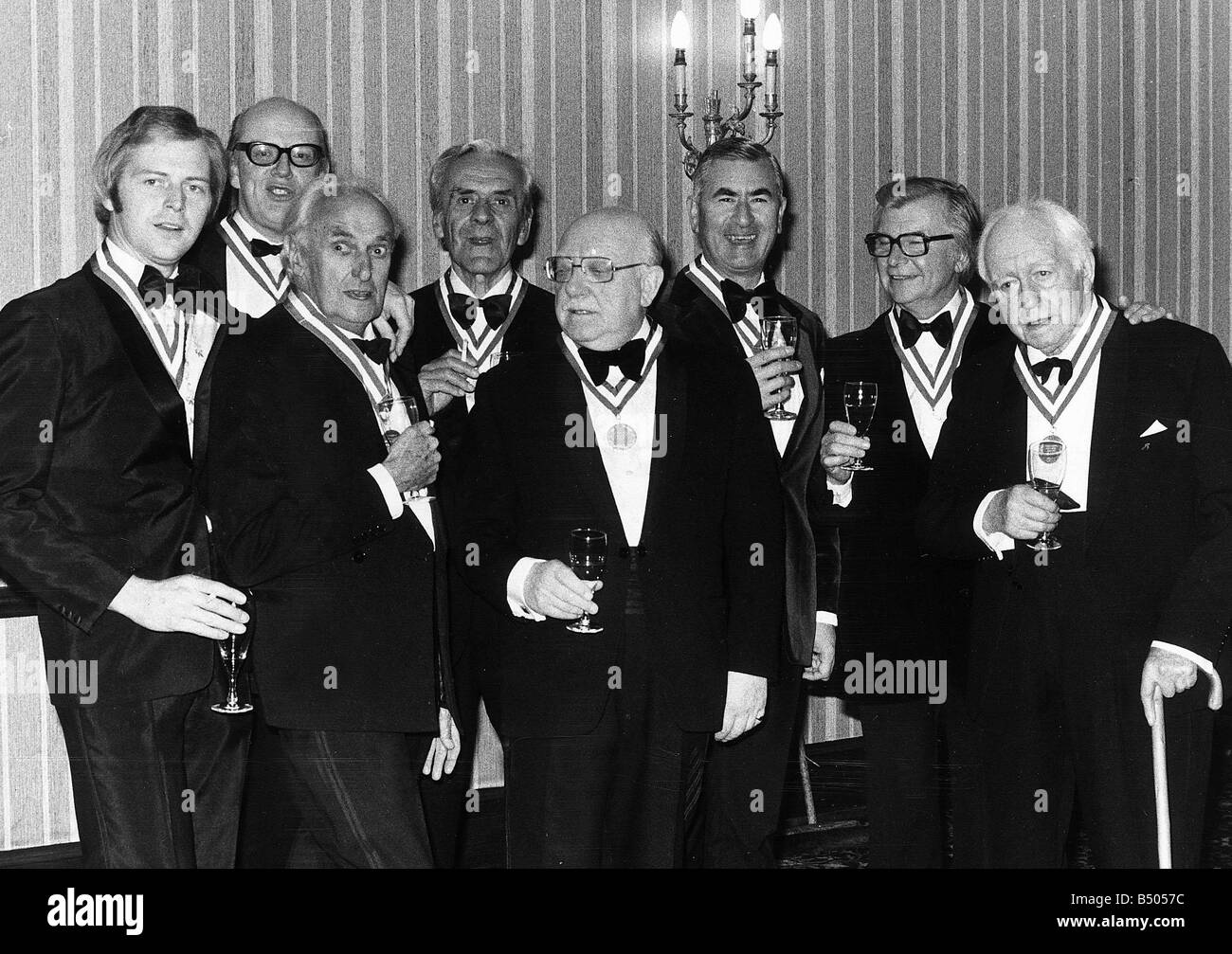 Dads Army television programme cast 1977 Left to Right Ian Lavender Frank Williams John Laurie John le Mesurier - Stock Image
