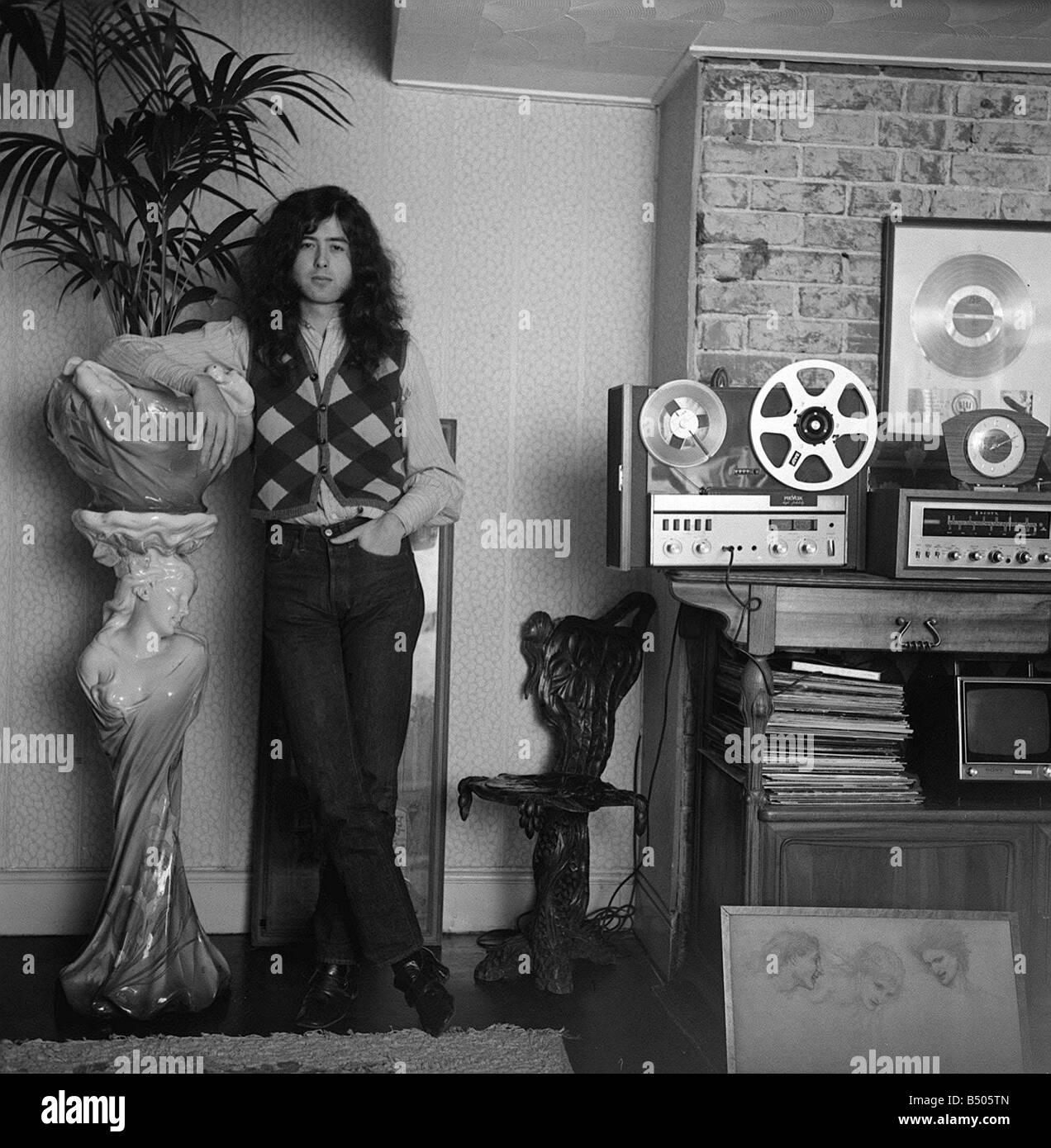 Jimmy Page Led Zeppelin guitarist January1970 - Stock Image