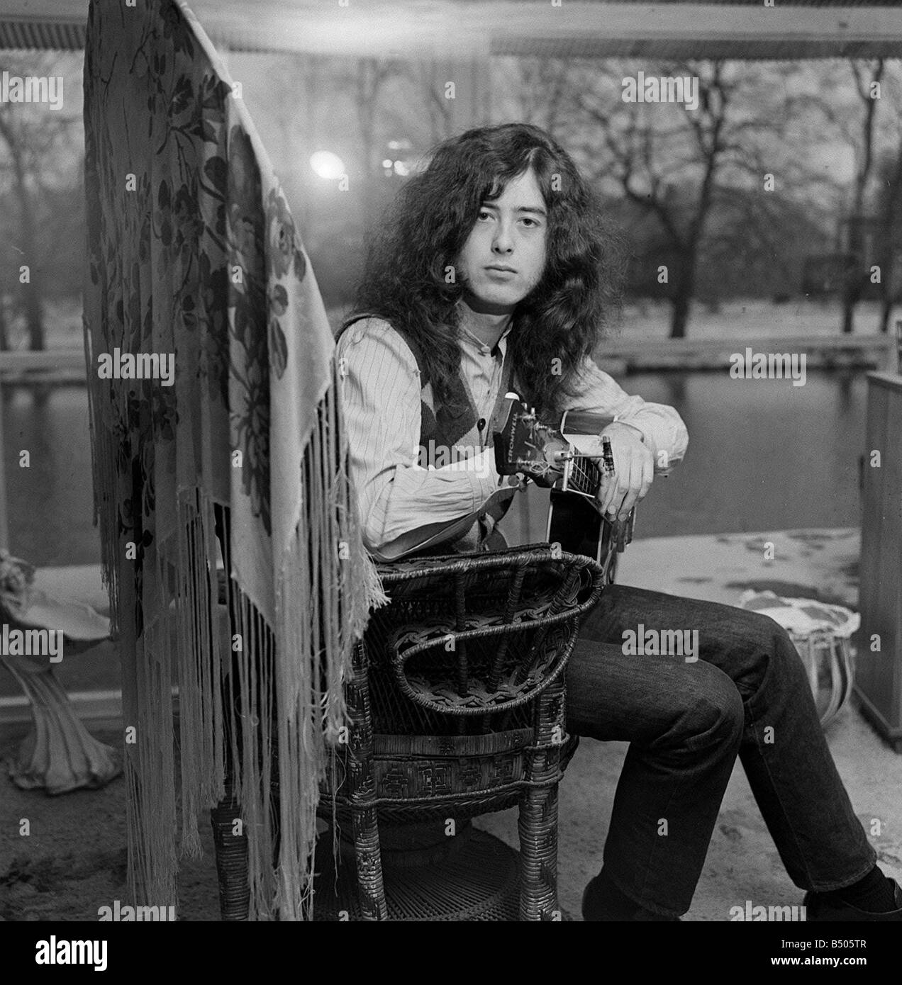 Jimmy Page Led Zeppelin guitarist January 1970 - Stock Image