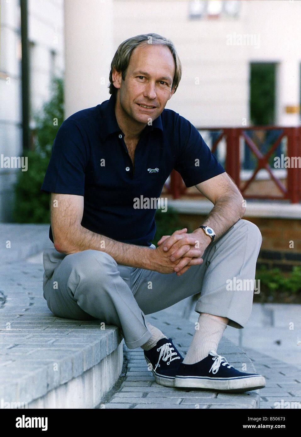 Mike D Abo Disc Jockey Singer Member of Manfred Mann pop group Sitting on steps Stock Photo