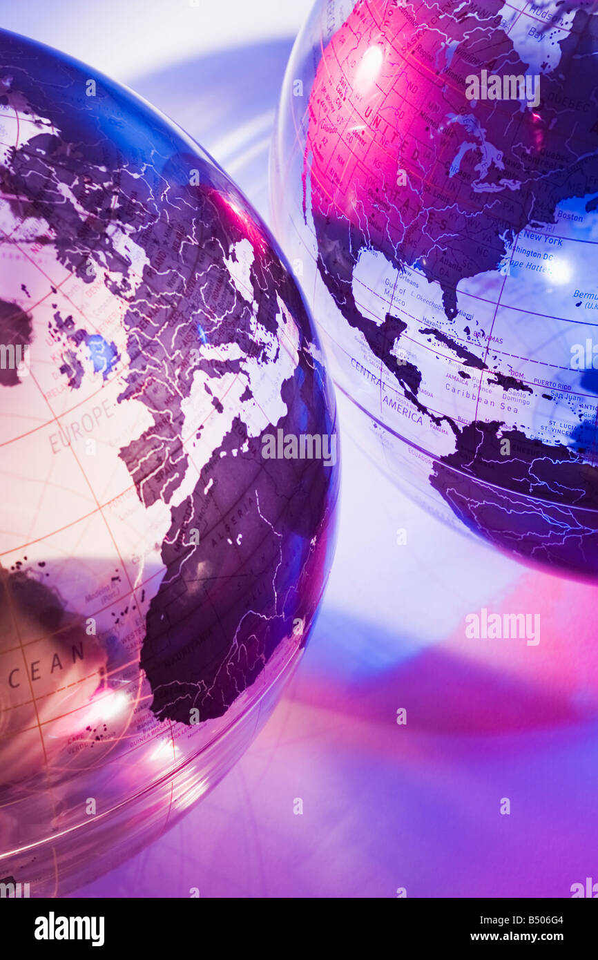 Europe and America globes - Stock Image