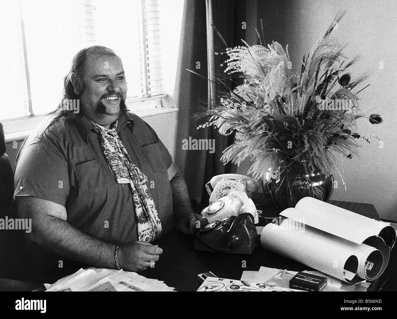 Peter Grant Manager of the group Led Zeppelin in his office - Stock Image